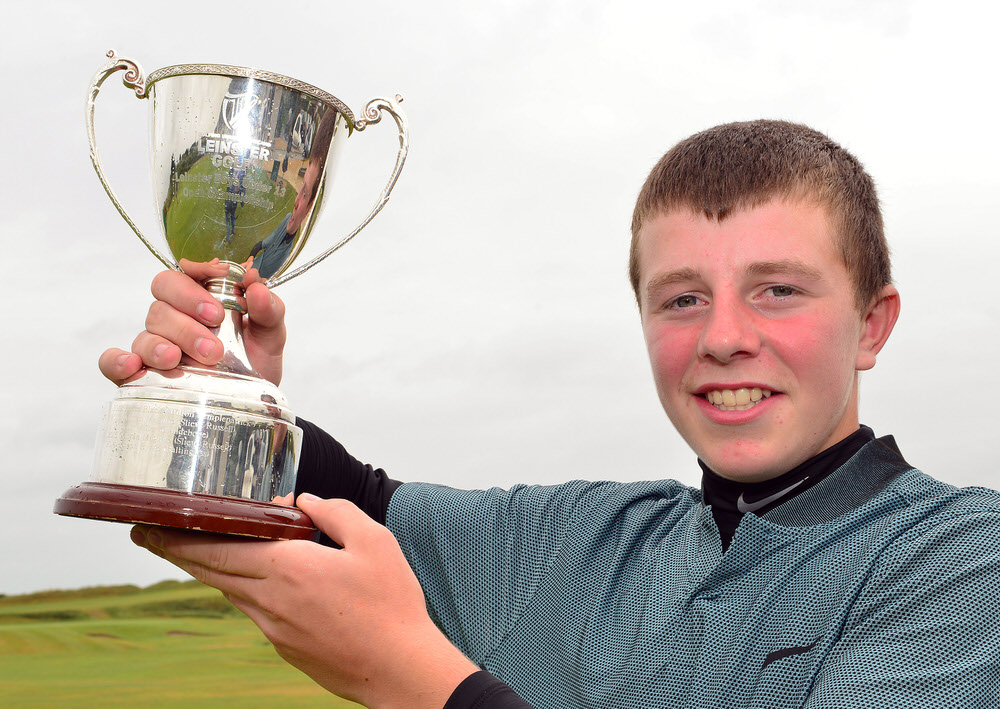 Champion on the Double.......Joseph Byrne (Baltinglass) after his victory in the 2017 Leinster Boys Under 14 Amateur Open Championship at Corballis Golf Club today (29/06/2017) Picture by Pat Cashman