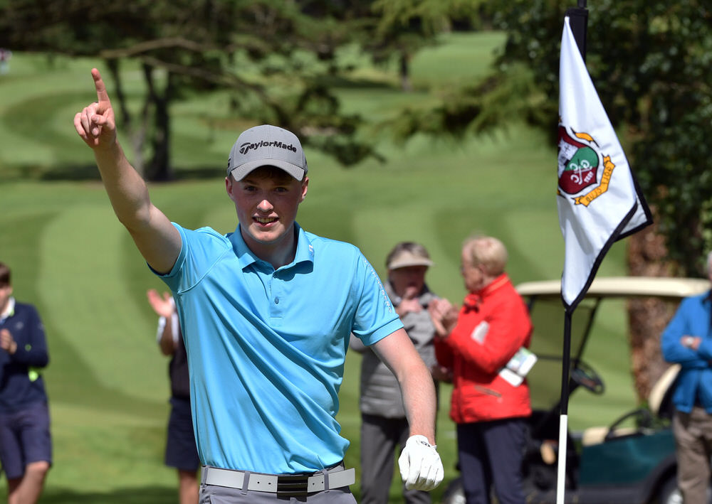 Mark Power (Kilkenny) after holing his second shot at the 3rd tie hole to win the 2017 Irish Boys Amateur Open Championship at Castletroy Golf Club (26/06/2015). Picture: Pat Cashman