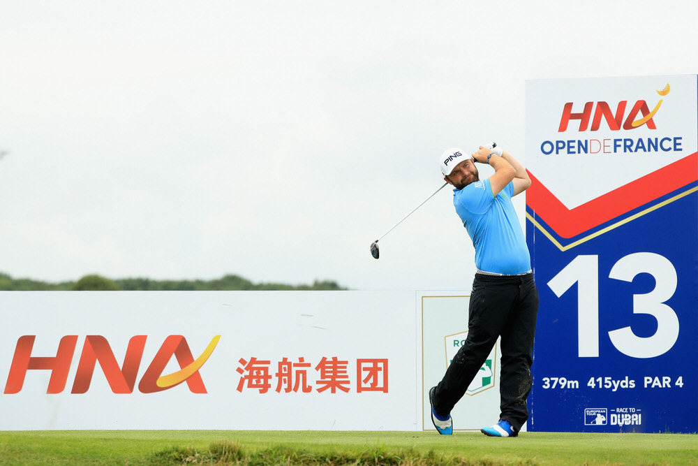 PARIS, FRANCE - JULY 01: Andy Sullivan of England tees off on the 13th during day three of the HNA Open de France at Le Golf National on July 1, 2017 in Paris, France. (Photo by Andrew Redington/Getty Images)