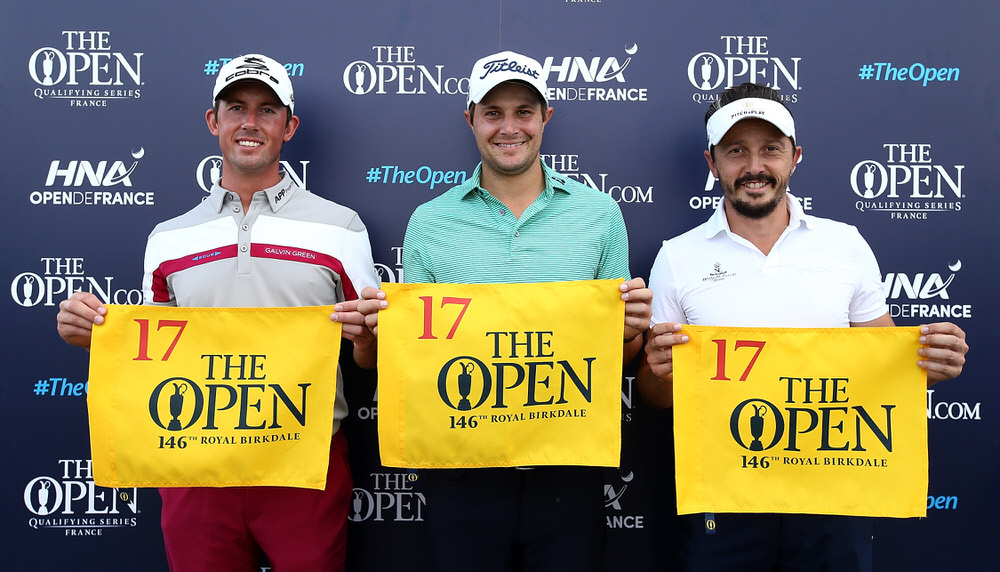 L to R: Alexander Björk, Peter Uihlein and Mike Lorenzo-Vera qualified for The 146th Open at Royal Birkdale at the HNA Open de France today. Picture, courtesy The R&A