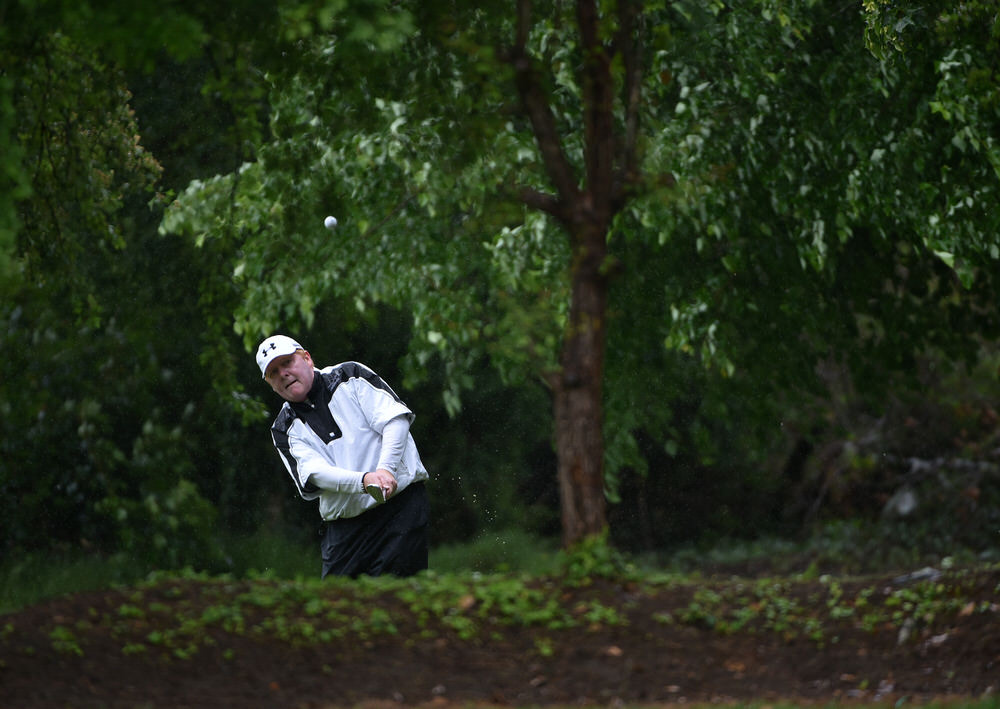 Jim Carvill (Banbridge) plays to the 12th green during the final round of the 2016 Irish Over-30s Amateur Open Championship at Limerick. Picture by  Pat Cashman