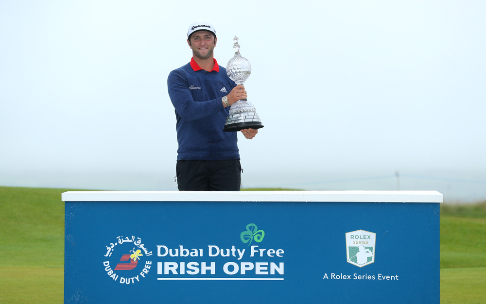 Jon Rahm of Spain poses with the trophy after his victory during the final round of the Dubai Duty Free Irish Open at Portstewart Golf Club on July 9, 2017 in Londonderry, Northern Ireland. (Photo by Warren Little/Getty Images)