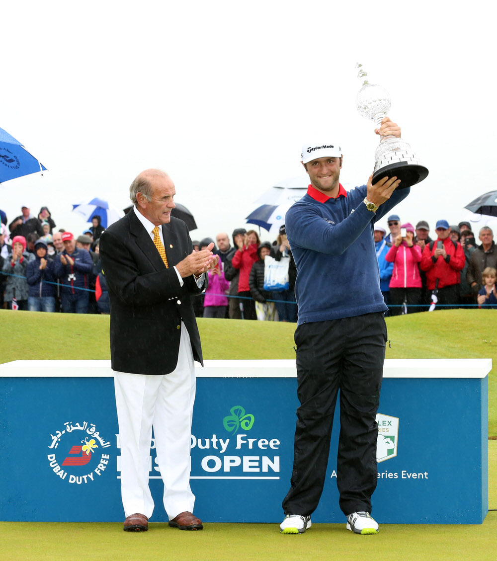 Jon Rahm with the Dubai Duty Free Irish Open trophy.Picture by Darren Kidd /Press Eye