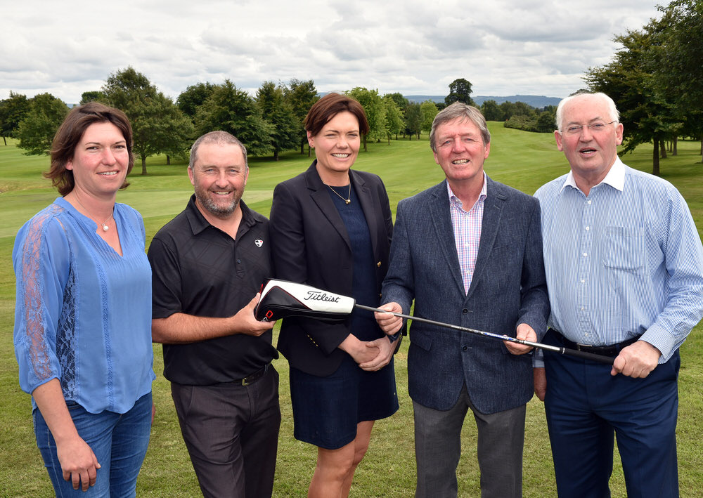 Des Smyth (Team Ireland) presenting professional Damien McGrane and his team of (from left) Philippa Lynch (Royal Curragh), Judith Whelan (Carton House) and Philip Lynch (Royal Curragh) with first prize at the 2017 Team Ireland Golf Pro-Am at Luttrellstown Golf Club (10/07/2017). Picture by  Pat Cashman  courtesy GUI