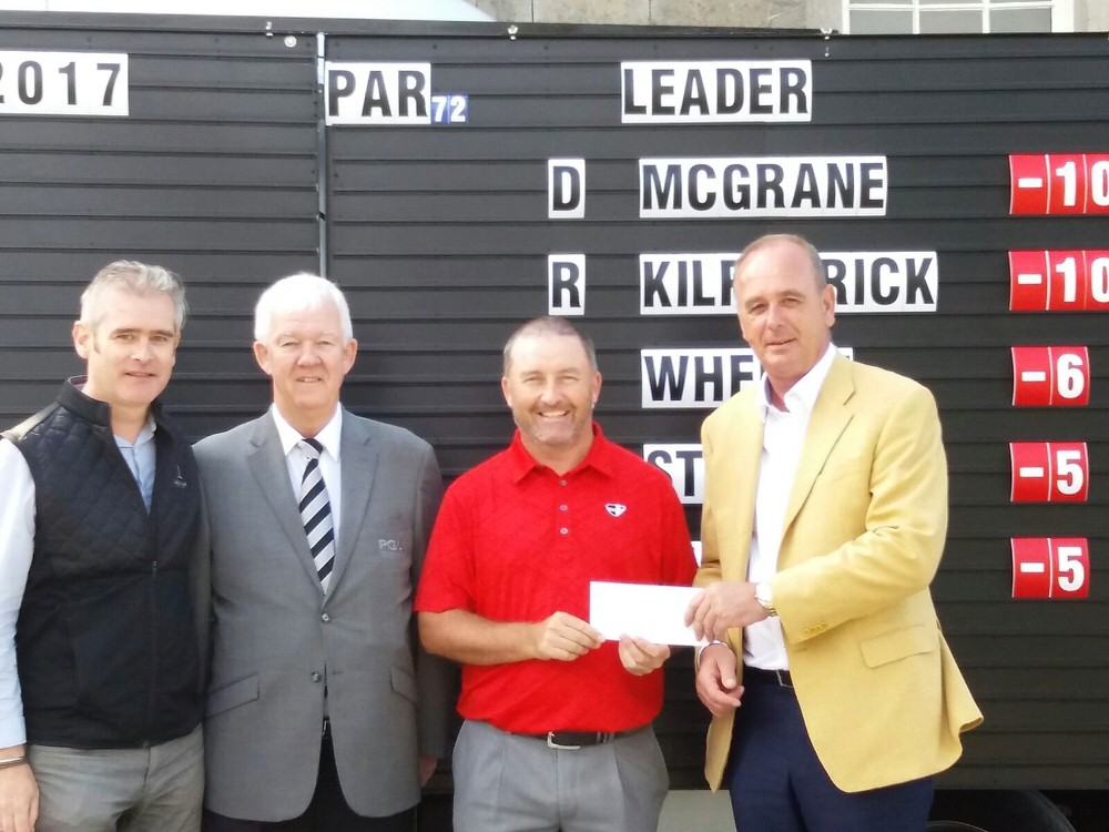 L-R: Conor Mallaghan, Carton House; Michael McCumiskey, PGA in Ireland; Damien McGrane, and Derek Stokes, Johnston Mooney and O'Brien