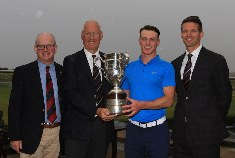 David McMullan (Captain, Royal Portrush Golf Club), Eamonn O'Connor (Chairman, GUI Ulster Branch), Rowan Lester (Hermitage) North of Ireland Champion 2017, Andrew Spence (Cathedral Eye Clinic). Credit:  GolfFile.ie