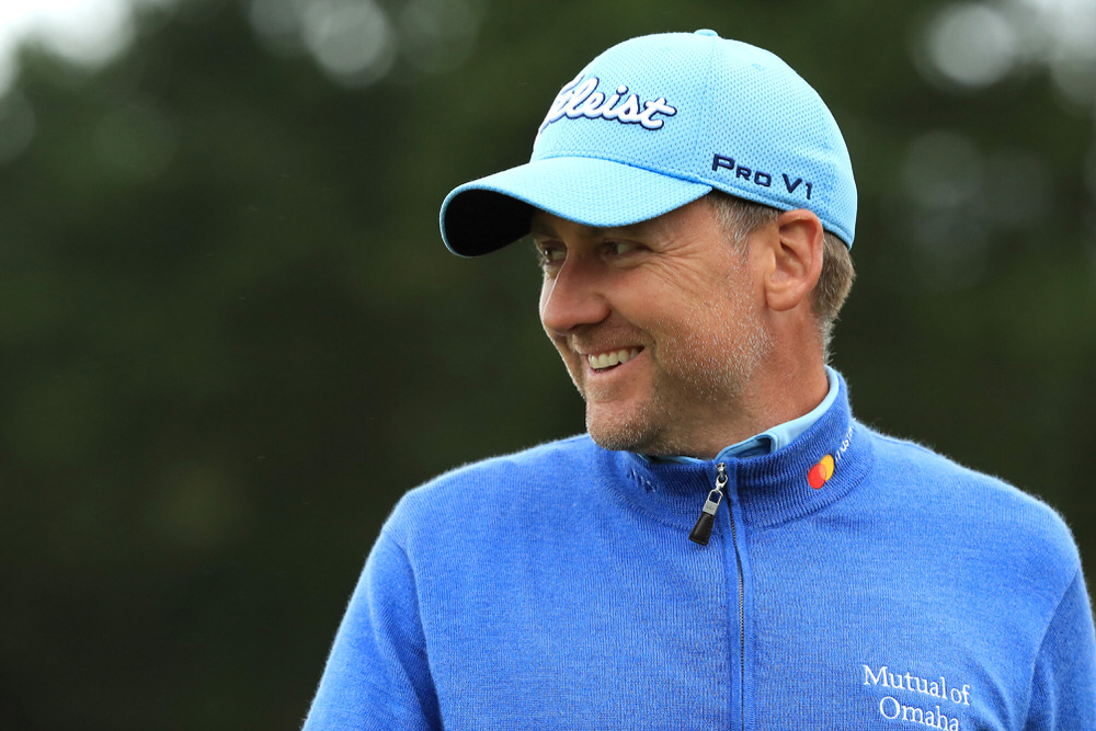 TROON, SCOTLAND - JULY 15:  Ian Poulter of England smiles on the 18th hole during day three of the AAM Scottish Open at Dundonald Links Golf Course on 15 July 2017 in Troon, Scotland.  (Photo by Andrew Redington/Getty Images)