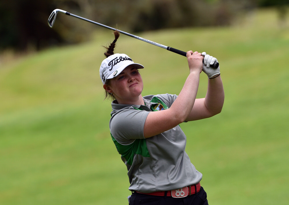 Mairead Martin (Kanturk) driving at the 12th tee during the final of the 2017 Irish Girls Close Championship at Mallow Golf Club. (22/07/2017). Picture by Pat Cashman