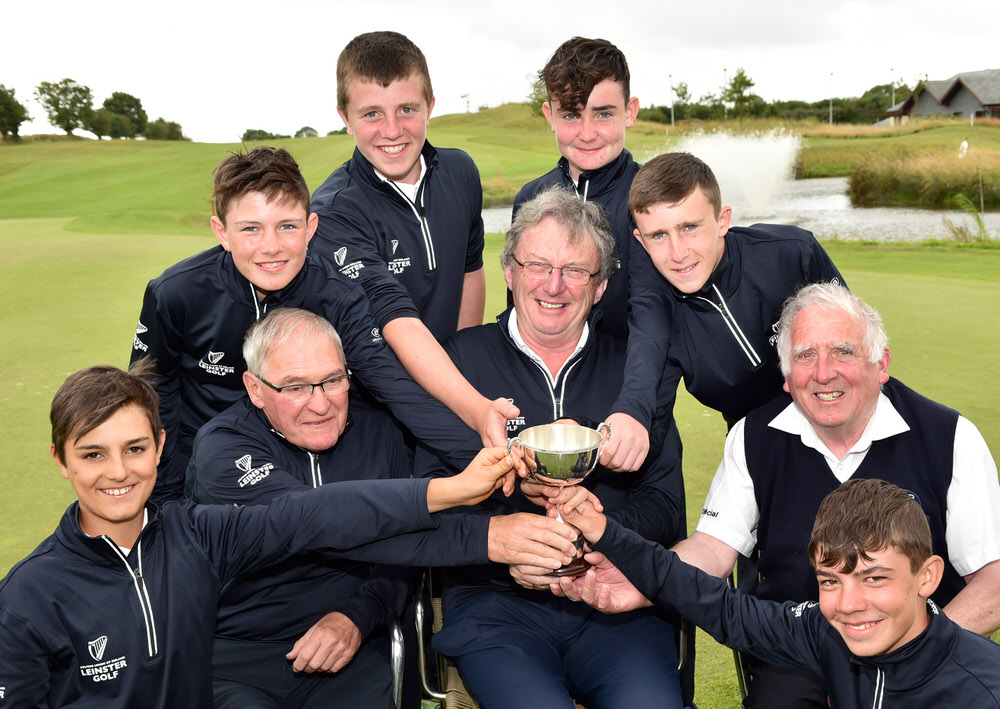 Leinster Winners........Ger Ennis (Team Captain), John McGrath (Team Manager) and John Ferriter (Chairman, Leinster Golf, GUI) pictured with the winning Leinster Boys (Under 14) team (from left) Michael Fitzgibbon, Brandon St John, Joseph Byrne, Alex Bolger, Cian McFadden and Liam Abom after their victory in the Interprovincial Matches at Blarney Golf Resort (26/07/2017). Picture by  Pat Cashman