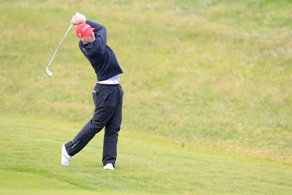 Barry Anderson in action during Saturday's play at Lahinch. Picture: Fran Caffrey / Golffile