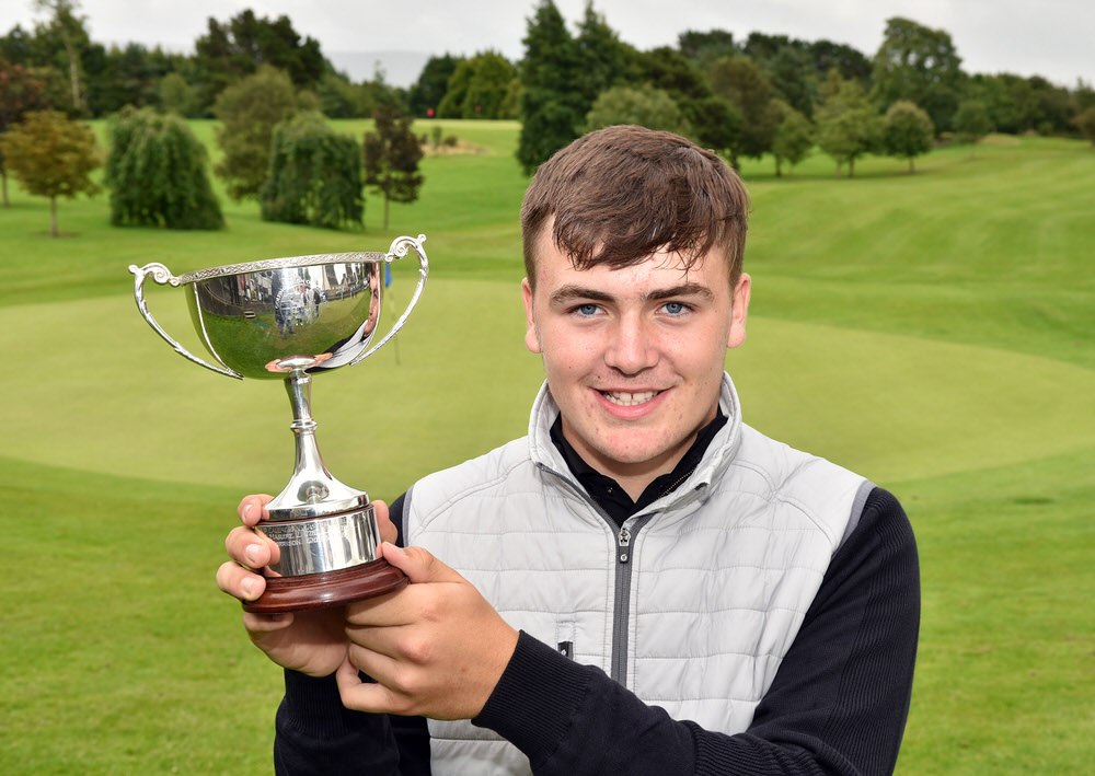 Winner Edward Rowe (Tandragee) with the 2017 Irish Boys Under 14 Amateur Open Championship Trophy after his victory at Ballina Golf Club today (04/08/2017). Picture by  Pat Cashman