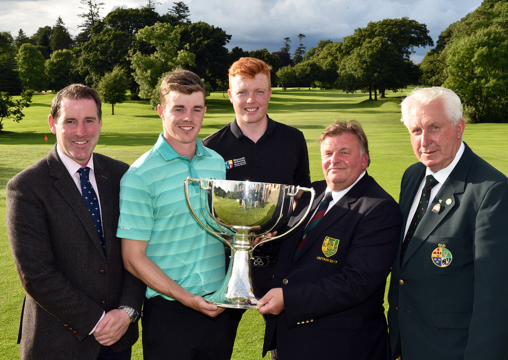 John Tweedle (Captain, Mullingar Golf Club) presenting Stuart Grehan (Tullamore) with the 2017 Sherry Fitzgerald - Davitt & Davitt sponsored Mullingar Scratch Trophy after his victory at Mullingar Golf Club. Also in the picture are (from left) Aidan Davitt (Davitt & Davitt), Robin Dawson (Tramore) and John Moloughney (President Elect, GUI). Picture by  Pat Cashman