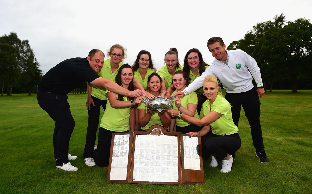 SUTTON COLDFIELD, ENGLAND - AUGUST 11:  The Ireland Ladies team, winners of The Ladies' Home Internationals pose with the Hugh Kelly Cup during The Ladies' and Girls' Home Internationals at Little Aston Golf Club on August 11, 2017 in Sutton Coldfield, England.  (Photo by Tony Marshall/R&A/R&A via Getty Images)