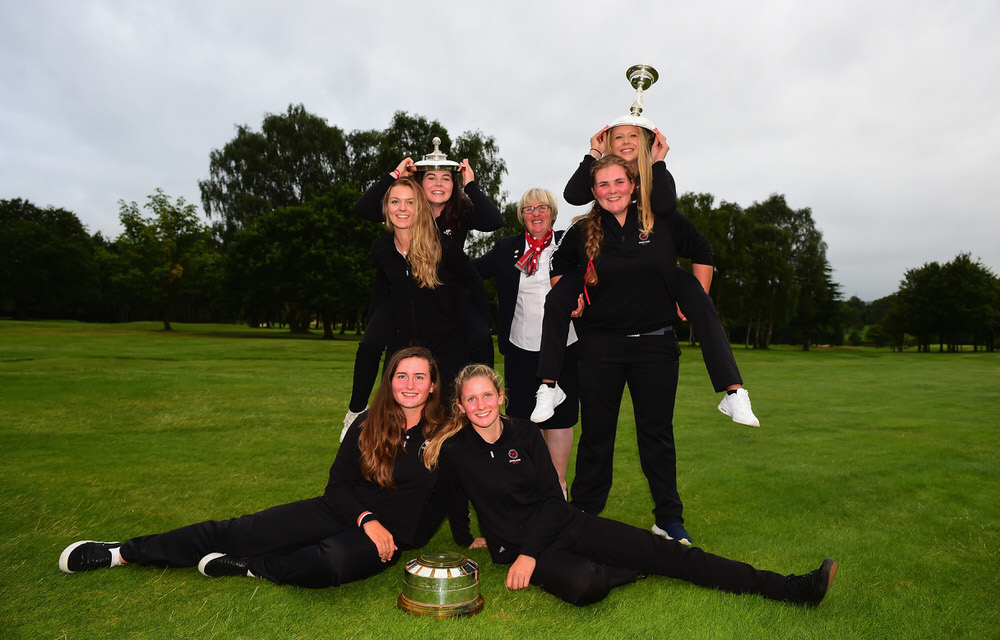 SUTTON COLDFIELD, ENGLAND - AUGUST 11: The England Girls team, winners of the Girls' Home Internationals pose with the Stoyan Cup during The Ladies' and Girls' Home Internationals at Little Aston Golf Club on August 11, 2017 in Sutton Coldfield, England.  (Photo by Tony Marshall/R&A/R&A via Getty Images)