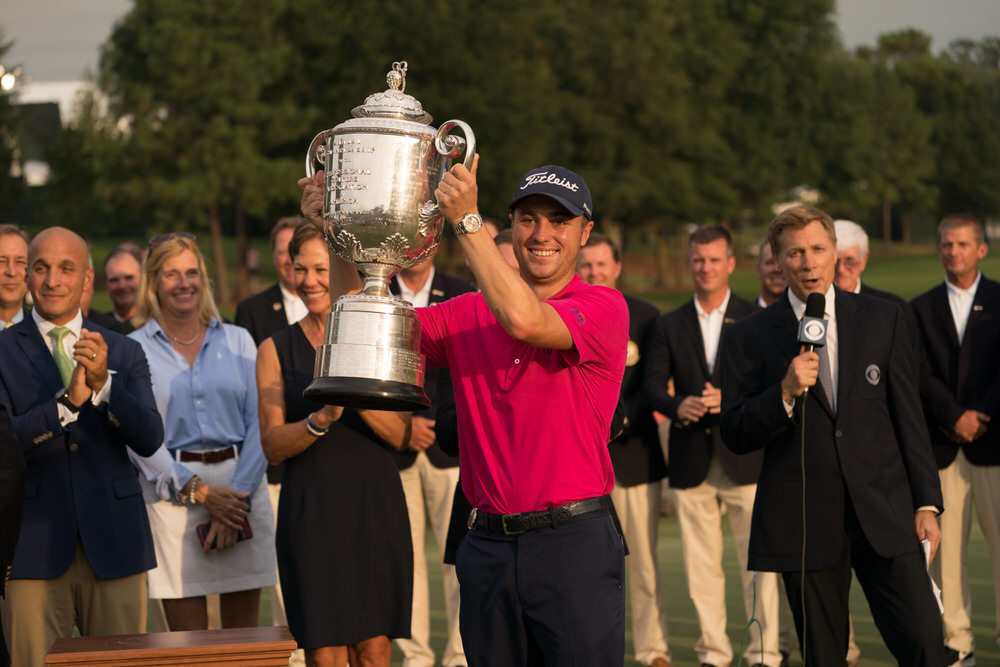 CHARLOTTE, NC - AUGUST 13: Champion, Justin Thomas of the United States receives the Wanamaker Trophy during the Award Ceremony at the 99th PGA Championship held at Quail Hollow Club on August 13, 2017 in Charlotte, North Carolina. (Montana Pritchard/PGA of America)