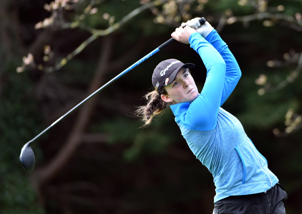 Lauren Walsh (Castlewarden) driving at the 18th in the 2017 Irish Schools Senior & Junior Cup Finals at Milltown.  (24/04/2017) Picture by Pat Cashman