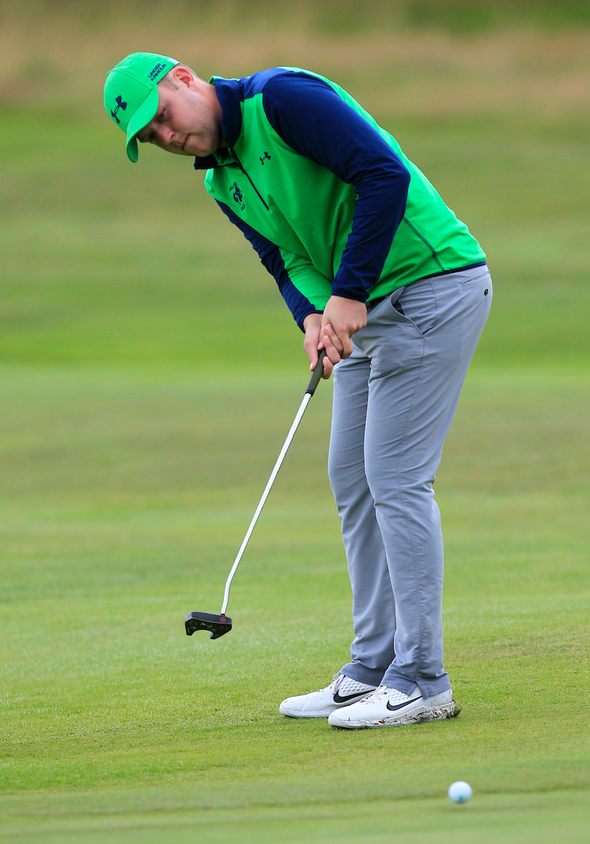 Paul McBride (Ireland) on the 18th green during Day 2 Foursomes of the Home Internationals at Moortown Golf Club, Leeds, England. 17/08/2017. Picture © Golffile | Thos Caffrey