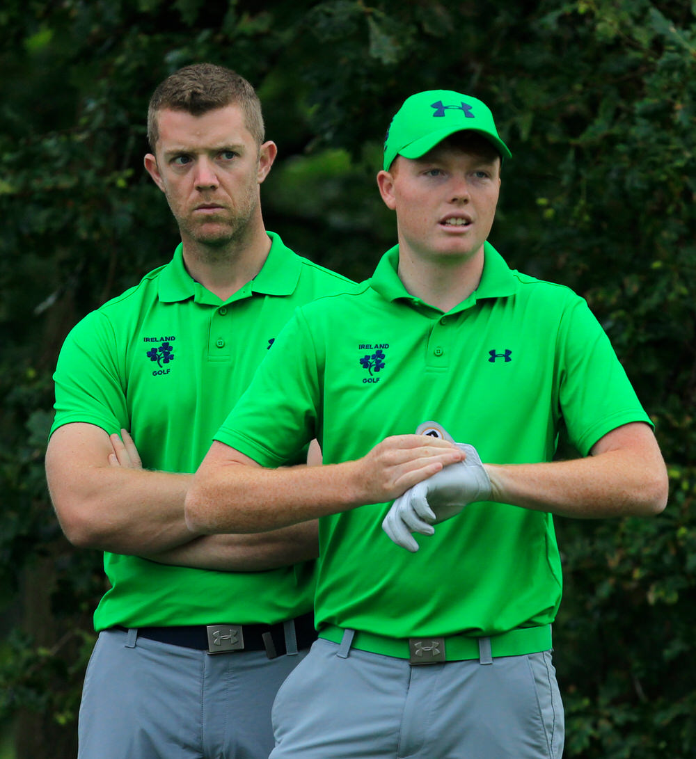 The eyes have it. Douglas' Peter O'Keeffe looks on intently as Robin Dawson stands by on the fourth tee at Moortown on Thursday.  Picture: Golffile | Thos Caffrey