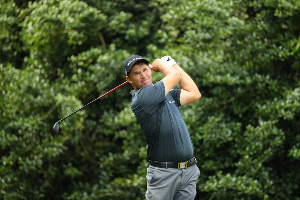Padraig Harrington hits his tee shot on the 14th hole during round one of the 99th PGA Championship at Quail Hollow Club. Picture: Scott Halleran/PGA of America