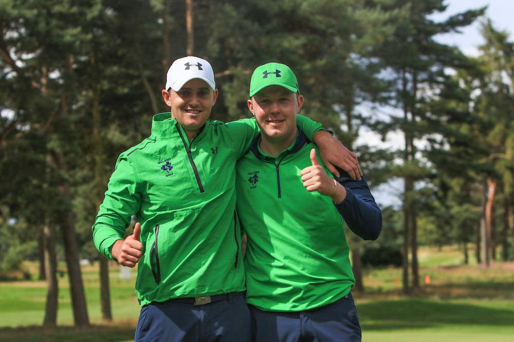 Conor O'Rourke and Paul McBride following their 2&1 foursomes win on day three of the Home Internationals at Moortown. Picture courtesy GUI/Golffile | Thos Caffrey