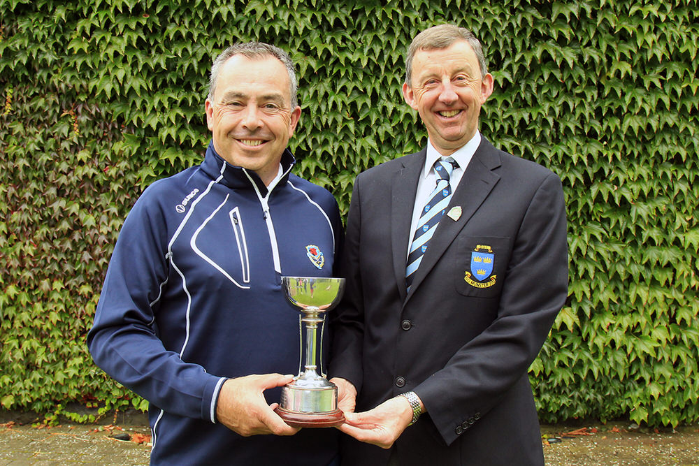 Pat Murray (Clontarf) receiving the Munster Mid Amateur Championship trophy from Jim Long, Chairman Munster Golf, at Newcastle West Golf Club. Picture: Niall O'Shea
