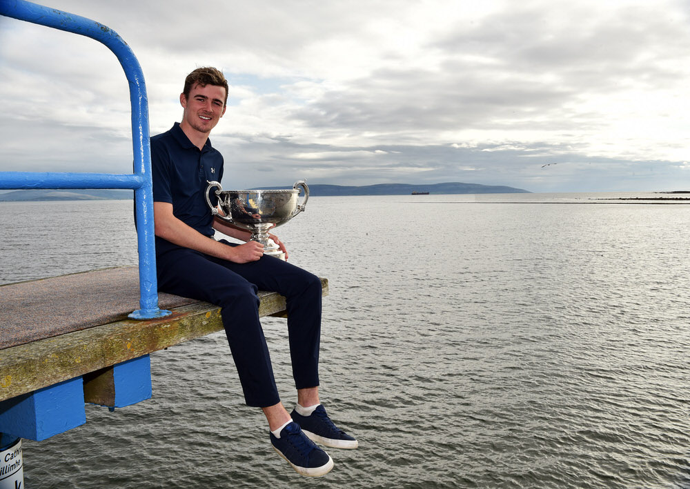 Jamie Fletcher (Warrenpoint) winner of the AIG 2017 Irish Amateur Close Championship at Galway Golf Club today (26/08/2017) pictured on the diving board at Salthill beach front. Picture by  Pat Cashman