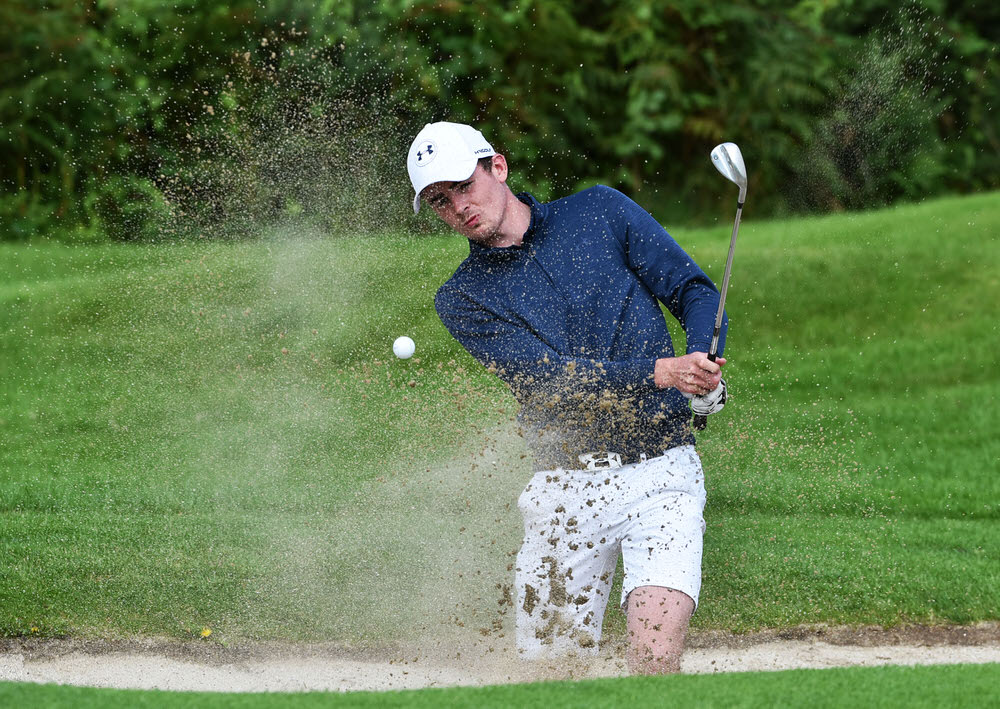 Jamie Fletcher (Warrenpoint) bunkered at the 16th green during day five of the AIG 2017 Irish Amateur Close Championship at Galway Golf Club today (26/08/2017). Picture by  Pat Cashman
