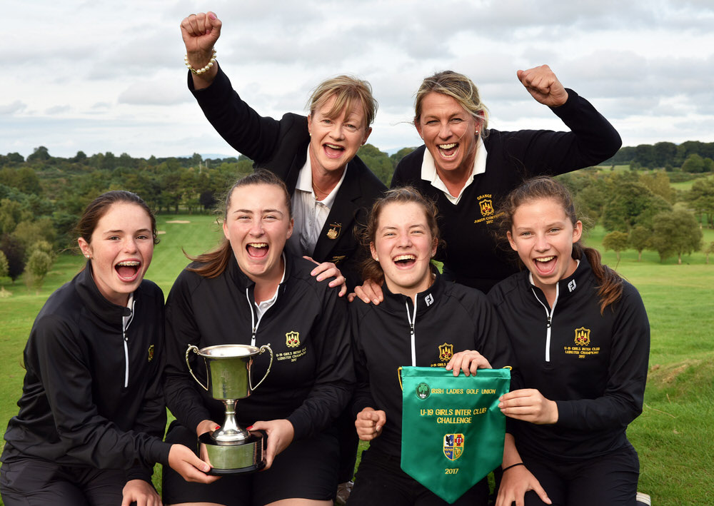 Grange Girls team (from left) Emma Fenlon, Ellen Nolan, Ciara Corcoran and Rachel Lynch with at back Joannie Langbroek (Lady Captain, Grange Golf Club) and Grainne Gunning (Team Manager) after their victory in the 2017 Girl's Inter Club Challange Trophy at Royal Curragh Golf Club Golf today (27/08/2017). Picture by  Pat Cashman