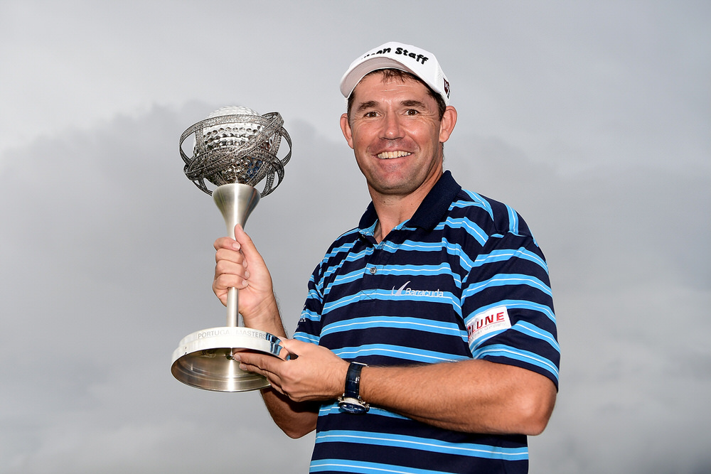 VILAMOURA, PORTUGAL - OCTOBER 23:  Padraig Harrington of Ireland poses with the trophy following his victory during day four of the Portugal Masters at Victoria Clube de Golfe on October 23, 2016 in Vilamoura, Portugal.  (Photo by Stuart Franklin/Getty Images)