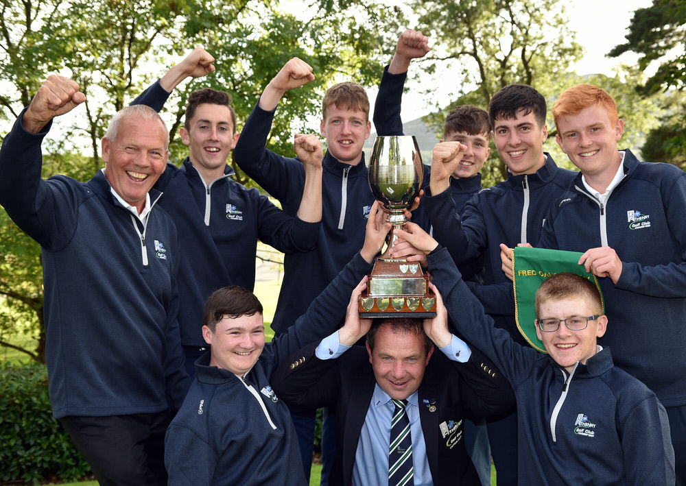 Martin Hynes (Captain, Athenry Golf Club) pictured with the Fred Daly Trophy after their victory at Bray Golf Club today (29/08/2017). Also in the picture are Pat Coen (Team Manager), Sean O'Connell, James O'Connor, Darren Leufer, Cillian Lawless and Allan Hill. In front are Mark Shivnan and David Kitt. Picture by Pat Cashman