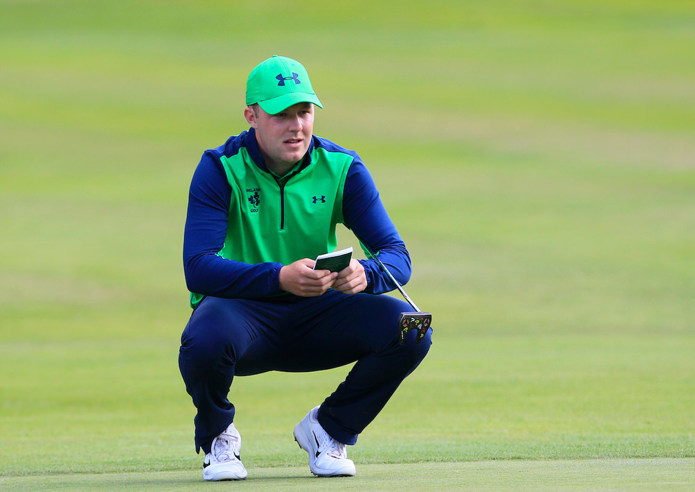 Paul McBride (Ireland) on the 15th green during the third day of the Home Internationals at Moortown Golf Club, Leeds, England. Picture: Golffile | Thos Caffrey