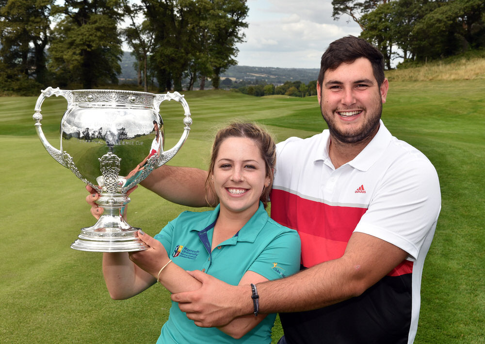 Men's winner Stefan Greenberg (Ulster) and women's winner Mary Doyle (Maynooth) after their victory in the 2017 Irish Students Amateur Open Championship at Bray Golf Club (01/09/2017). Picture by  Pat Cashman