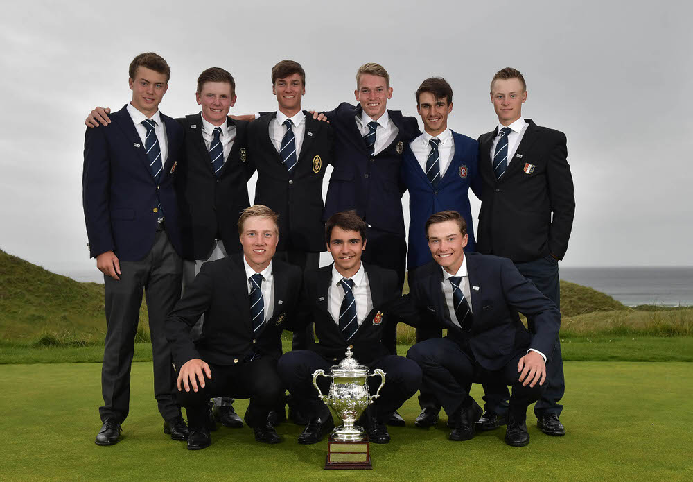 BALLYBUNION, IRELAND - SEPTEMBER 2: The winning Continent of Europe boys golf team with the Jacques Leglise Trophy on September 2, 2017 in Ballybunion, Ireland. The Continent of Europe defeated GB and Ireland 15 and a half to 9 and a half to retain the trophy. (Photo by Charles McQuillan/R&A/R&A via Getty Images)