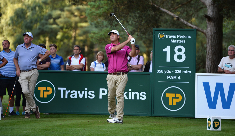 WOBURN, ENGLAND - SEPTEMBER 02:  Clark Dennis of the United States plays his first shot on the 18th tee during the Travis Perkins Senior Masters - Day Two at Woburn Golf Club on September 2, 2017 in Woburn, England.  (Photo by Tony Marshall/Getty Images)