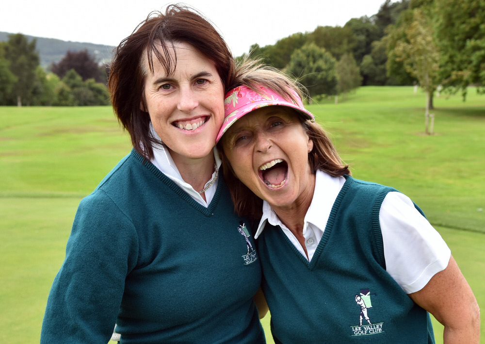 Lee Valley's Helen Geoff (right) with her caddy Catherine Sullivan after holing the winning putt on the 18th green in the AIG Minor Cup at the 2017 AIG Ladies Cups and Shields (Munster) Finals) at Cahir Park Golf Club (02/09/2017). Picture by Pat Cashman