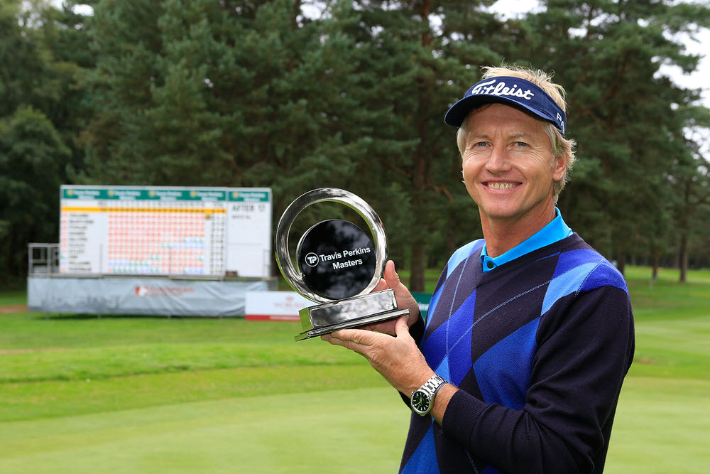 WOBURN, ENGLAND - SEPTEMBER 03:  Philip Golding of England in poses with the trophy after the final round of the Travis Perkins Senior Masters played at the Duke's Course, Woburn Golf Club on September 3, 2017 in Woburn, England.  (Photo by Phil Inglis/Getty Images)