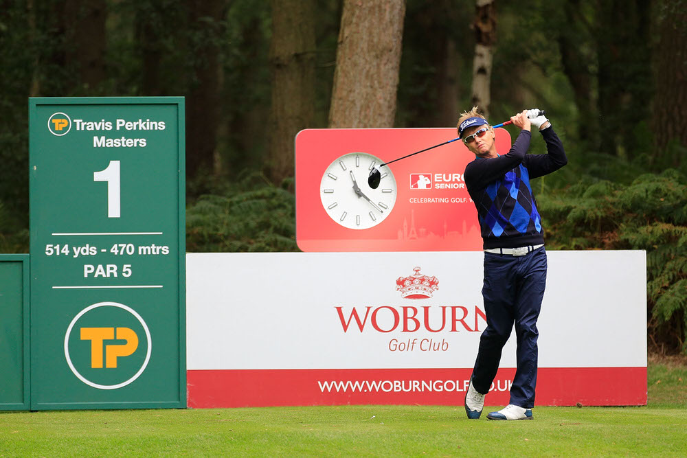 WOBURN, ENGLAND - SEPTEMBER 03:  Philip Golding of England in action during the final round of the Travis Perkins Senior Masters played at the Duke's Course, Woburn Golf Club on September 3, 2017 in Woburn, England.  (Photo by Phil Inglis/Getty Images)