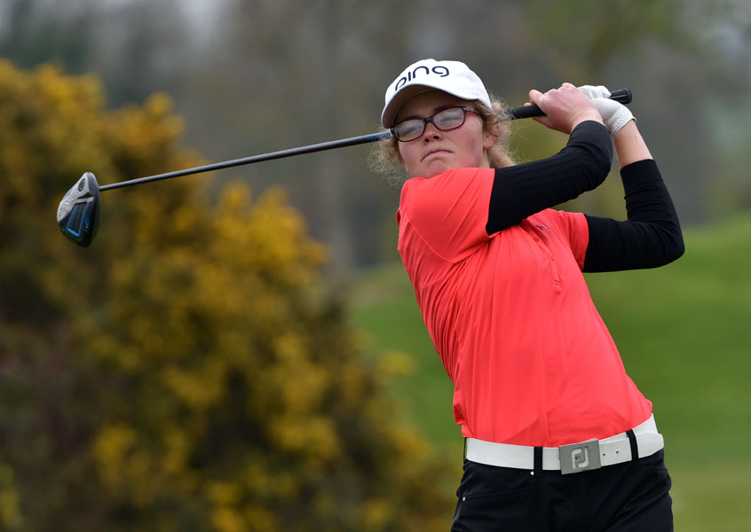 Annabel Wilson (Lurgan) driving at the 13th tee in the final round of the 2017 Irish Girl's Open Strokeplay Championship at Roganstown. Picture by  Pat Cashman