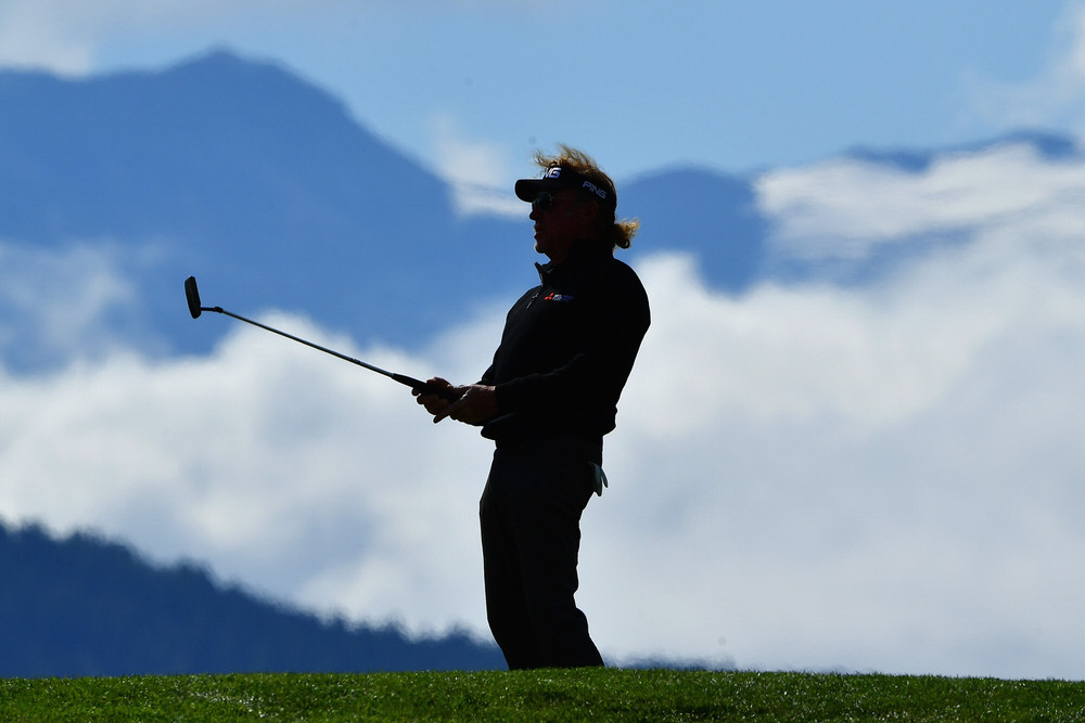 CRANS-MONTANA, SWITZERLAND - SEPTEMBER 07:  Miguel Angel Jimenez of Spain on the 7th during day one of the 2017 Omega European Masters at Crans-sur-Sierre Golf Club on September 7, 2017 in Crans-Montana, Switzerland.  (Photo by Stuart Franklin/Getty Images)