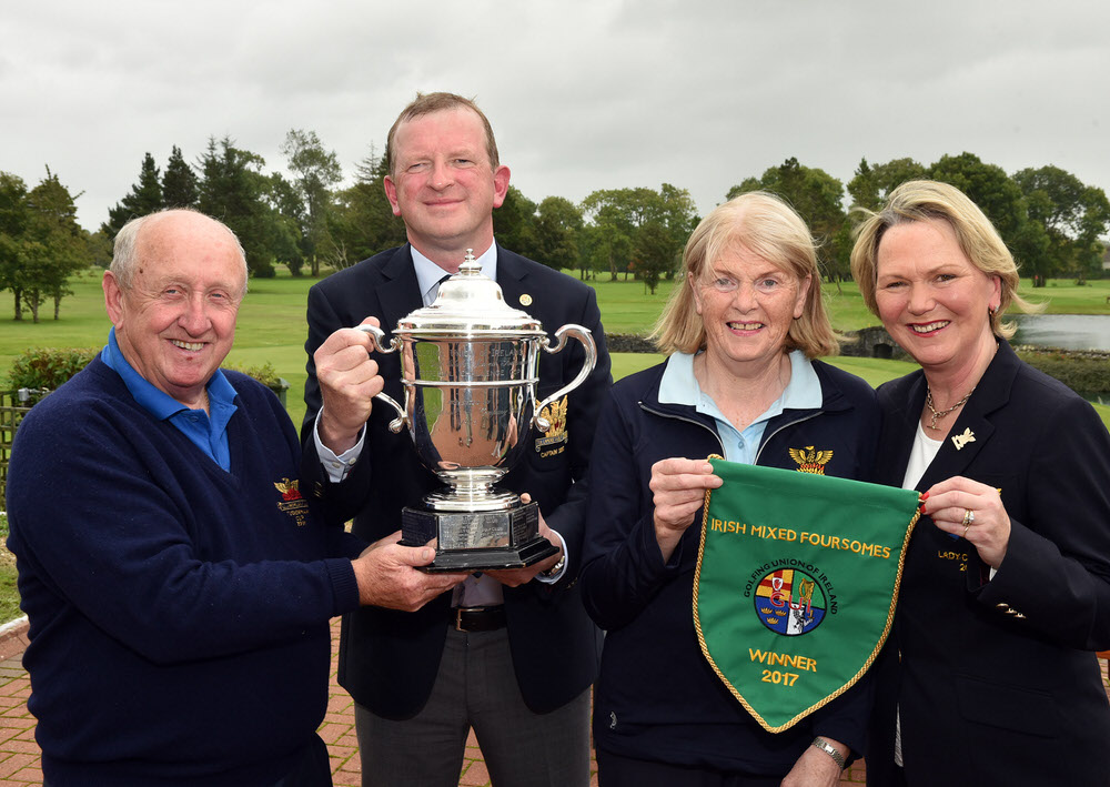 Tony Flanagan (Captain, Tullamore Golf Club) with Olive Carragher (Lady Captain, Tullamore Golf Club) with Eamon Buggy (winner 1972) and Cait Cooney (Winner 2000 and 2017) at the 2017 I Need Spain Irish Mixed Foursomes All Ireland Finals at Castlebar Golf Club (09/09/2017). Picture by  Pat Cashman