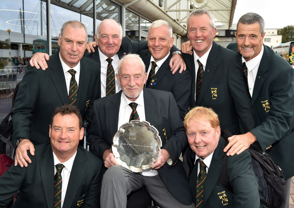 Sean O'Leary (Team Captain) with the victorious Irish Senior Men's European Team at Dublin Airport today (10/09/2017) on their arrival from Sweden.......Team members.....Eamon Haugh (Castletroy), Garth McGimpsey (Royal Portrush), Brian Hutchinson (Team Manager), Karl Bornemann (Douglas), John Mitchell (Tramore), Adrian Morrow (Portmarnock) and Jim Carvill (Banbridge). Picture by Pat Cashman