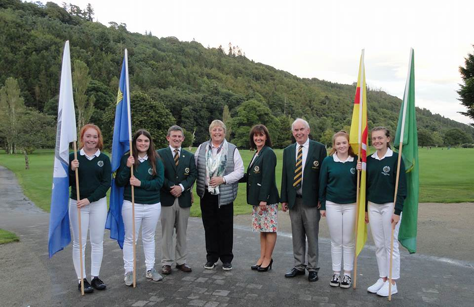 Woodenbridge flag bearers and officials with Mary McKenna