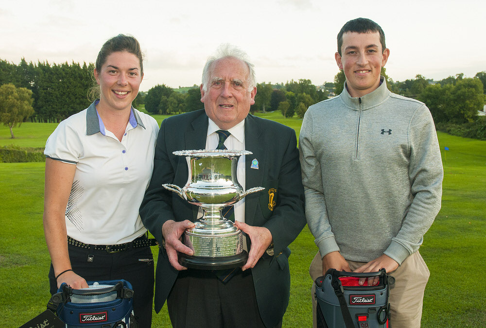 The winners from Delgany Golf Club, Marc Nolan and Lauren Murray with John Ferriter, Chairman of Leinster Golf. Photo: Ronan Quinlan/ www.cashmanphotography.ie