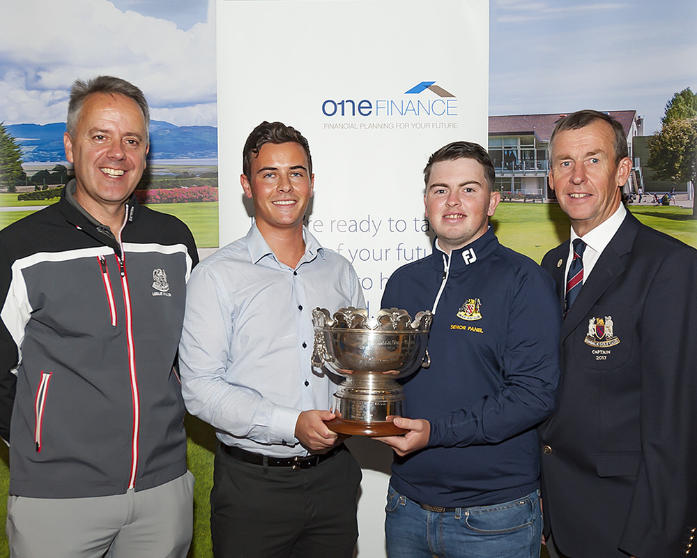 Pictured at the launch of the 2017 Dundalk Scratch Cup sponsored by One Finance were (from left): Leslie Walker (Club Professional), Niall McDonnell (One Finance), Caolan Rafferty (Current Holder) and Dundalk Golf Club Captain Mickey Coburn.