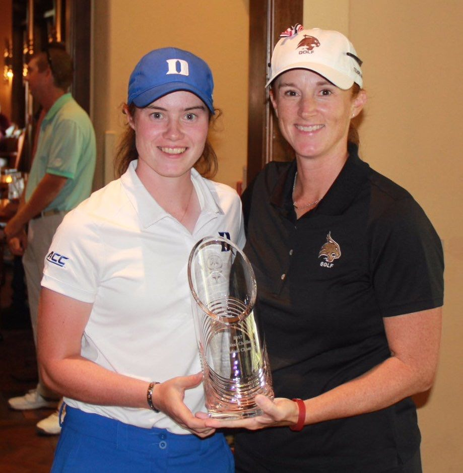Leona Maguire receives the Jim West Challenge trophy