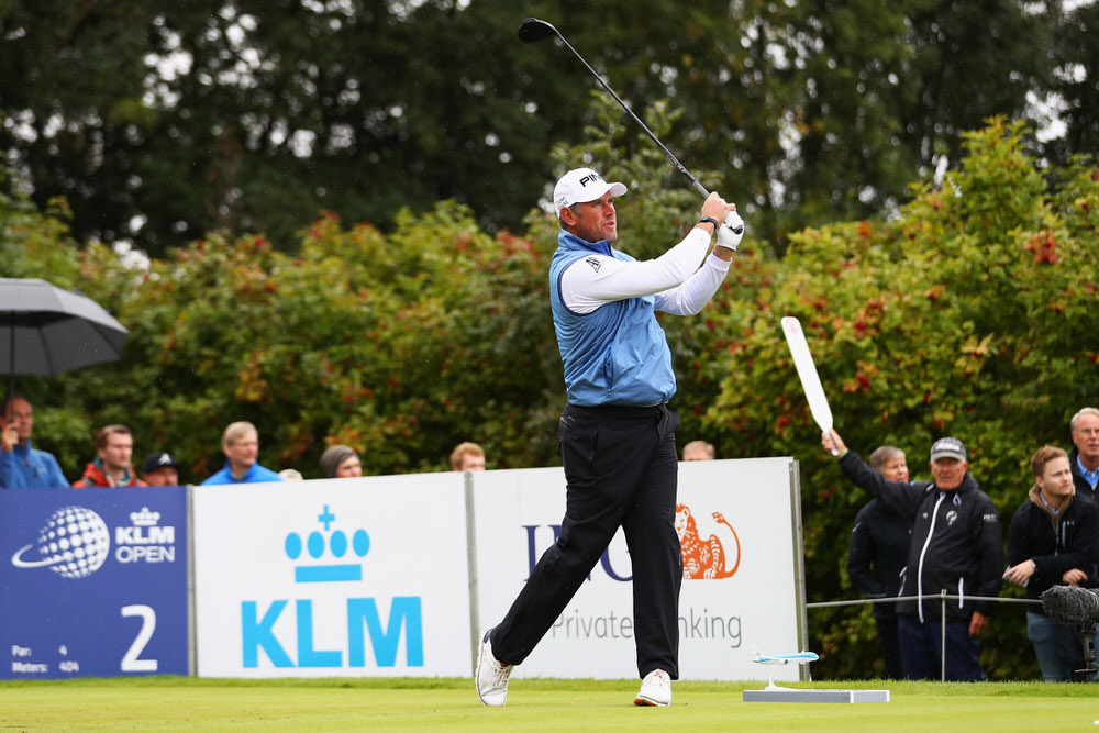 SPIJK, NETHERLANDS - SEPTEMBER 16:  Lee Westwood of England hits his tee shot on the 2nd hole during day 3 of the European Tour KLM Open held at The Dutch on September 16, 2017 in Spijk, Netherlands.  (Photo by Dean Mouhtaropoulos/Getty Images)