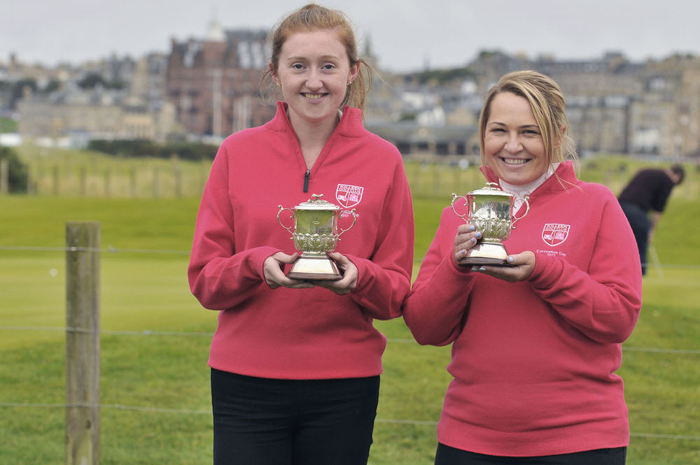Killeen Golf Club's Siobhan Behan (left) and Lorraine Walsh show off their trophies at St Andrews following their win in the Grand Final of the Coronation Foursomes. Credit: The R&A