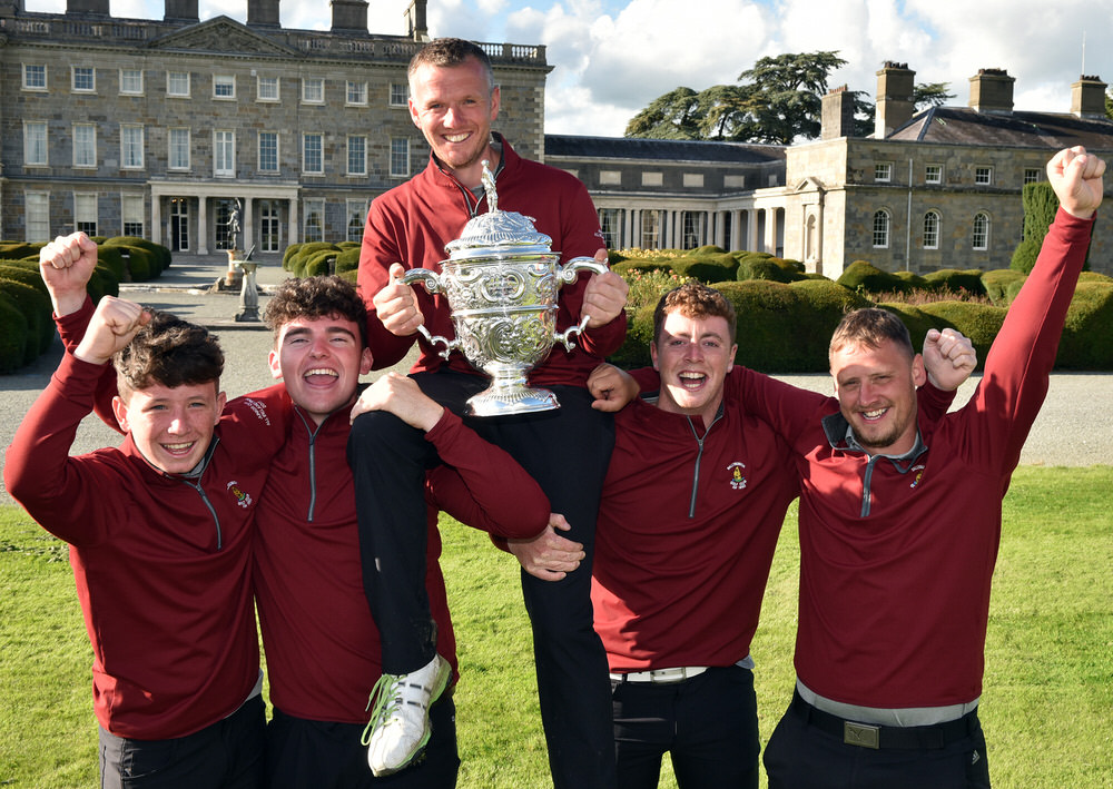 Ballybunion's hero Brian Slattery and team mates (from left) Philip Byrne, Ronan Cross, Frank Geary and Adrian Walsh after their victory in the final of the AIG Junior Cup at Carton House  (21/09/2017). Picture by  Pat Cashman