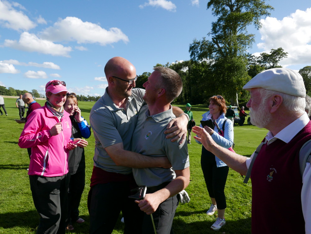 True bromance. Brian Slattery was the man of the moment for Ballybunion in the AIG Junior Cup. Picture © Brian Keogh