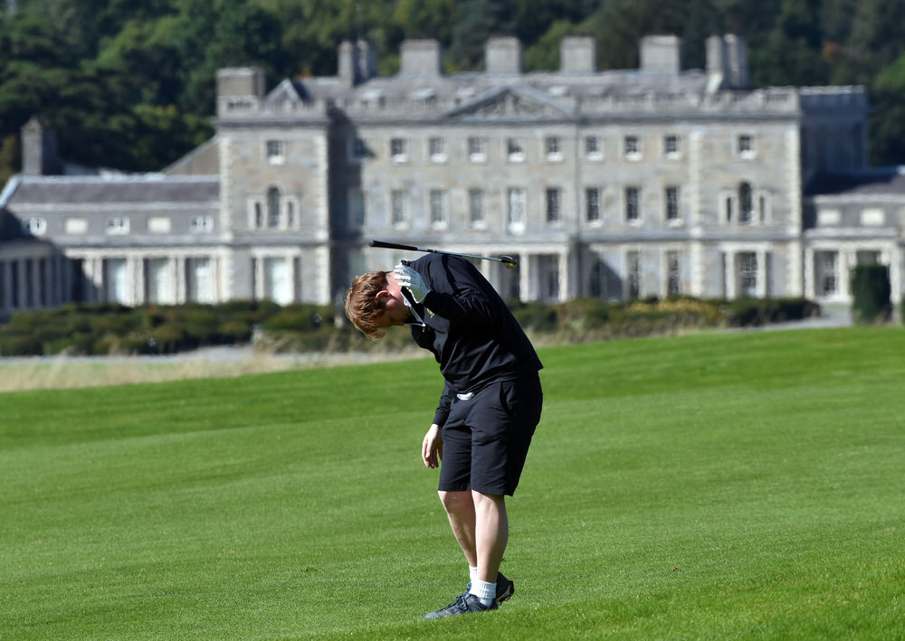 Paul McNiff (Grange) reacts to a bad chip at the 12th hole in the final of the AIG Junior Cup at Carton House (21/09/2017). Picture by  Pat Cashman